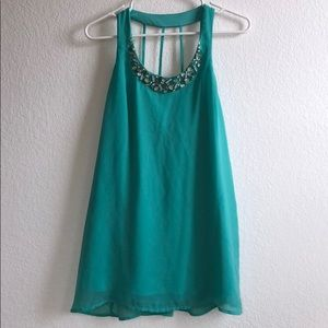 teal jeweled neck dress